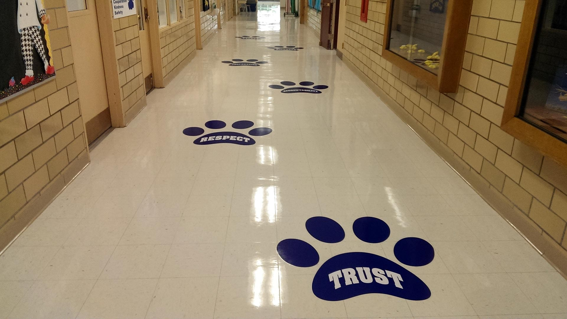 Floor graphics for a school