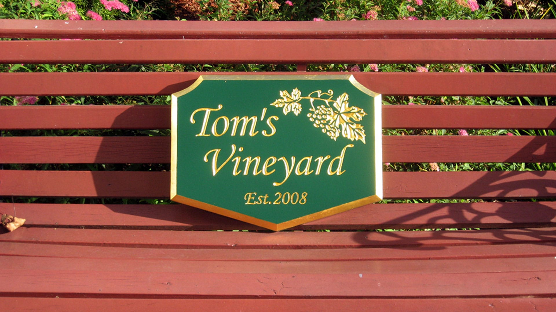 Carved Sign - Tom's Vineyard