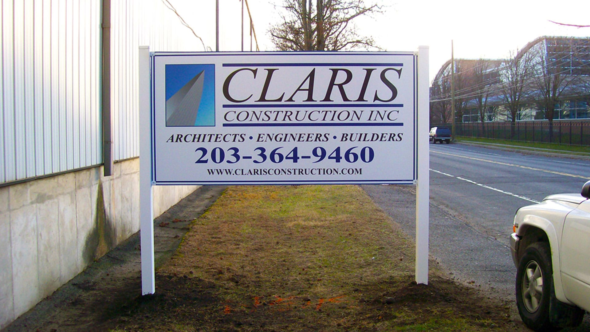Site sign for Claris Construction