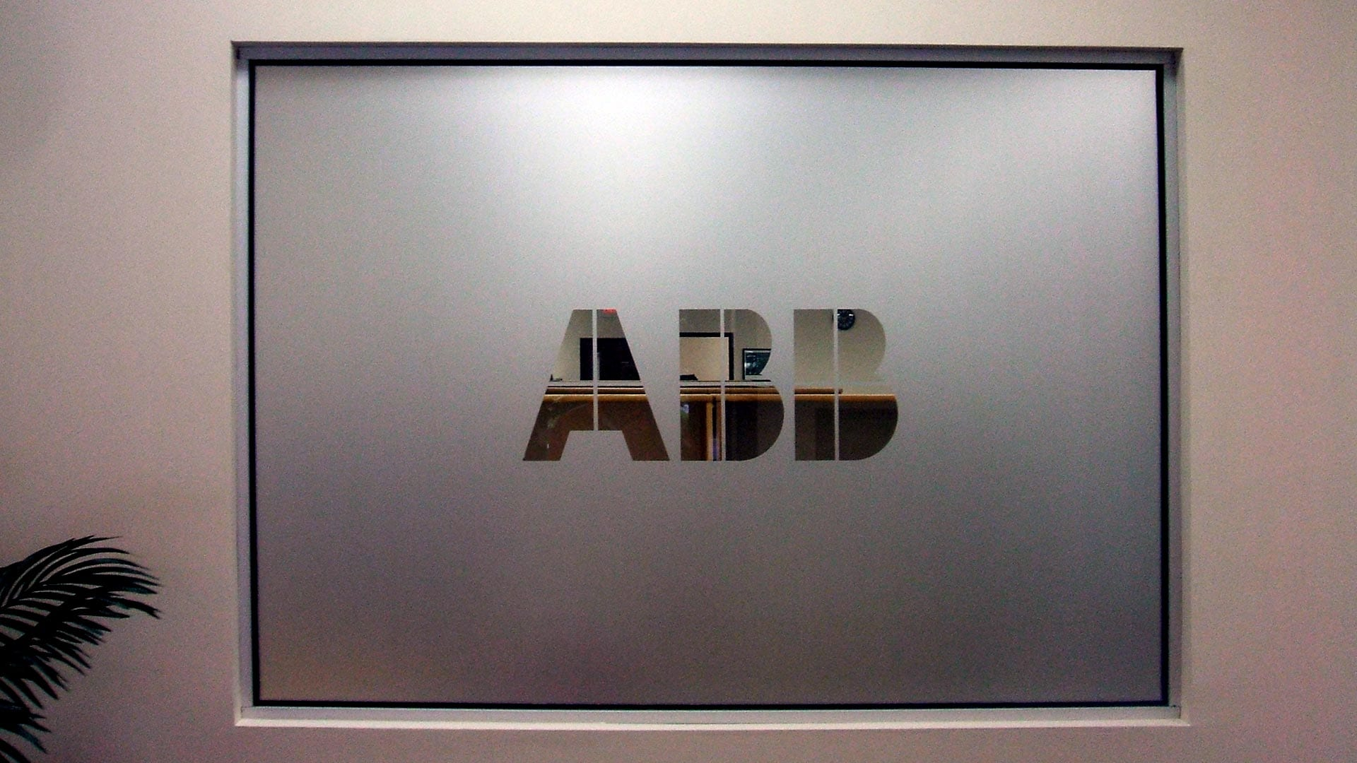 Interior logo with window frosting