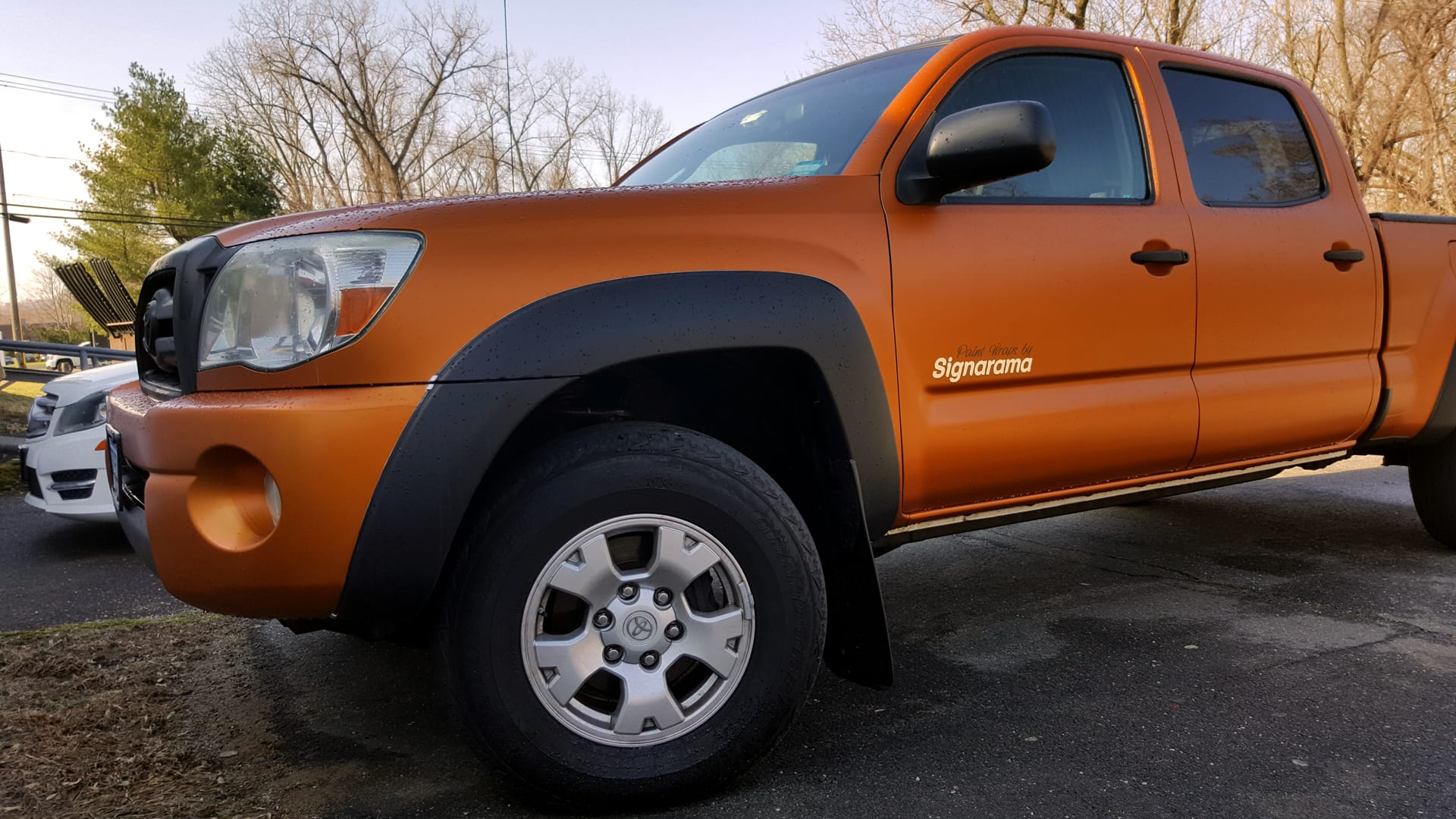 Bright orange paint wrap on truck