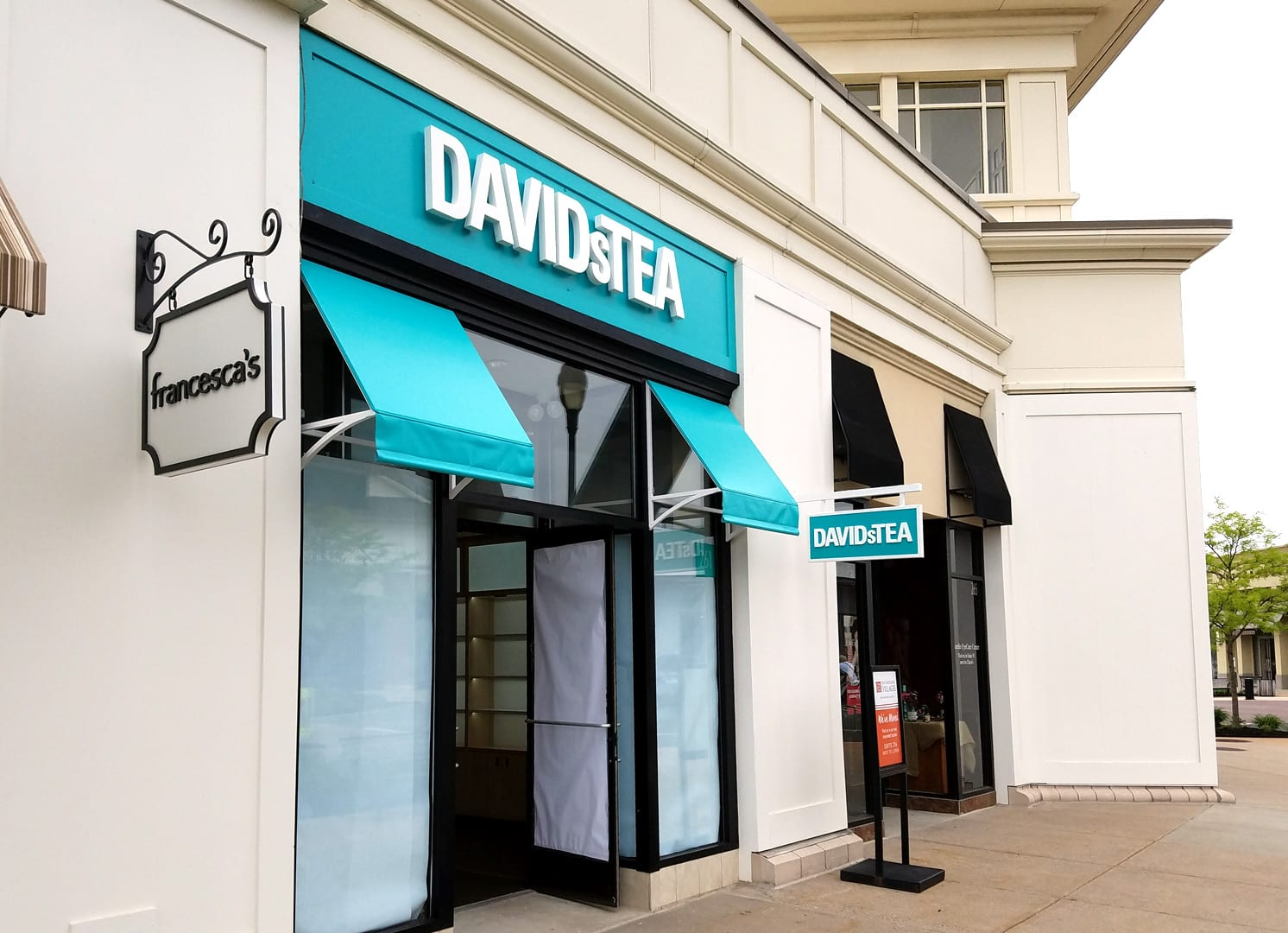 Exterior and Hanging sign for Davids Tea