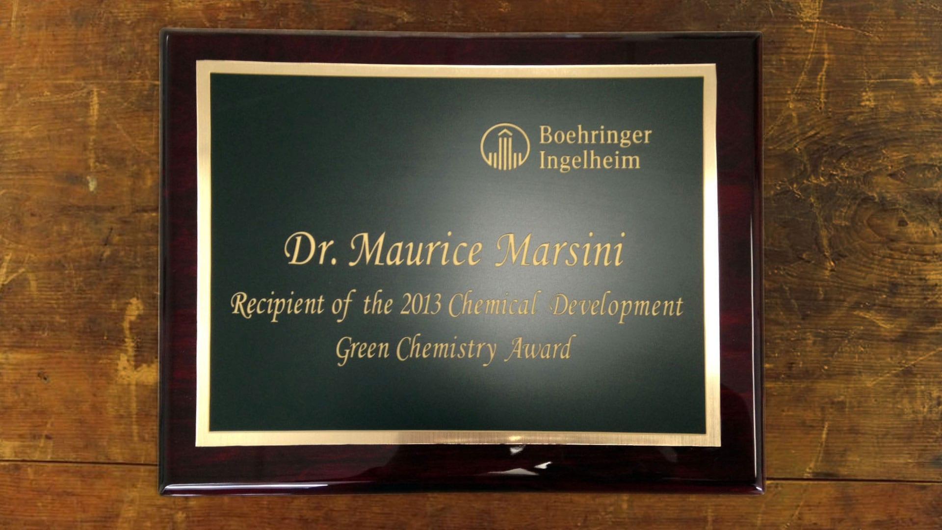 Plaque - Boehringer Ingelheim award