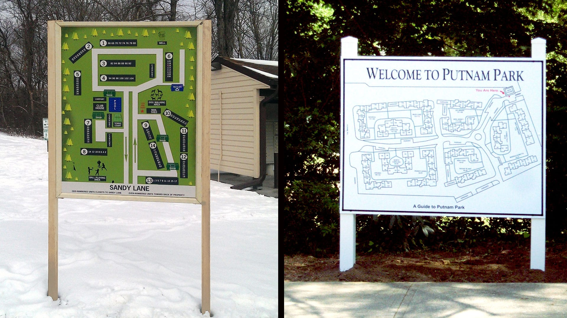 Two outdoor wayfinding and directory signs -Exterior Signs