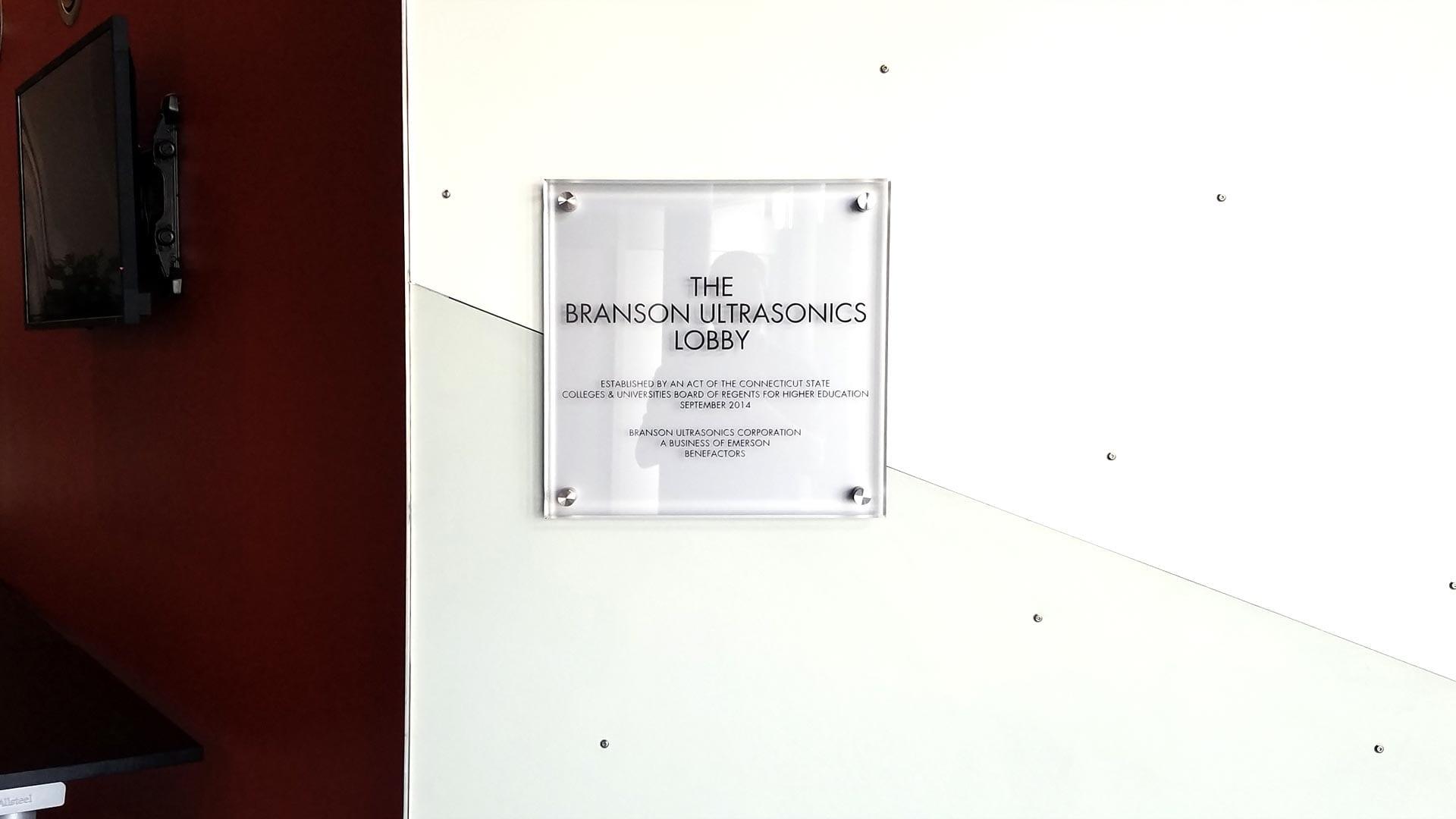Glass Plaque for Branson Ultrasonics Lobby